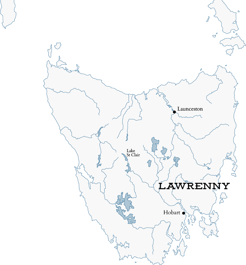 Map of Tasmania with Lawrenny Estate marker